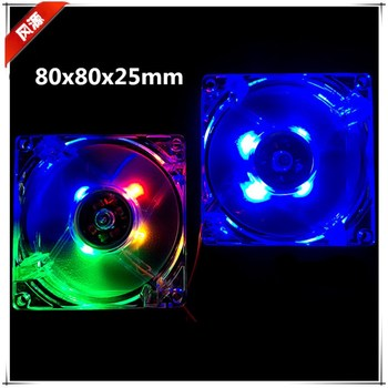 New 8025 80MM 80x80x25mm Led Cooling Fan with  Multicolor and Blue Computer Case Fan with 3PIN 4D Connector
