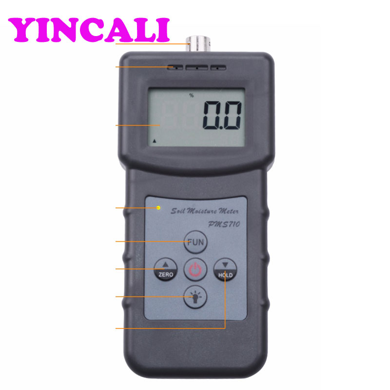 цена на Good Quality Portable Soil Moisture Meter PMS710 Cement Coal Moisture Tester 4 digitals LCD Display with 280mm Needle