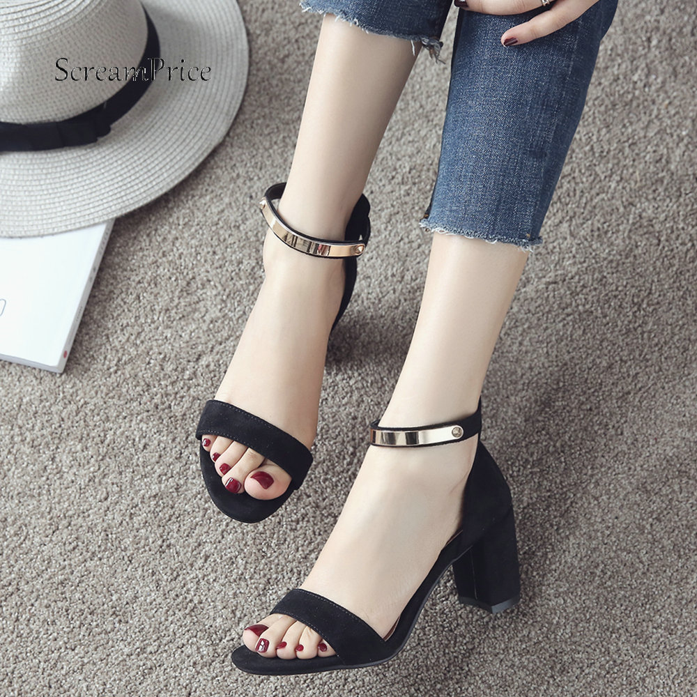 цена на Fashion Ankle Strap Faux Suede Chunky High Heeled Sandals Womens Casual Heels Shoes Plus Size Black Red Beige