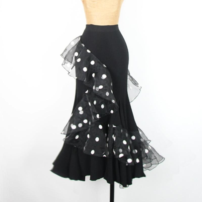2019 jupe de salon dame vague noire Point Flamenco jupes espagne danseuse vêtements femmes valse Standard danse spectacle porter DN3218