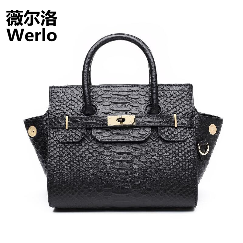 WERLO Brand Designer Women Bag Totes 2017 New Fashion Genuine Cow Leather Wings Bag Alligator Lady Shoulder Messenger Bag SJ197 free shipping new fashion brand women s single shoulder bag lady messenger bag litchi pattern solid color 100