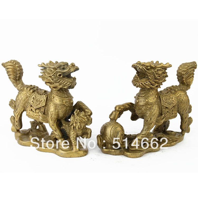 Pair Feng Shui Brass Chilin/CHILIN Figurine /chilin statuesPair Feng Shui Brass Chilin/CHILIN Figurine /chilin statues