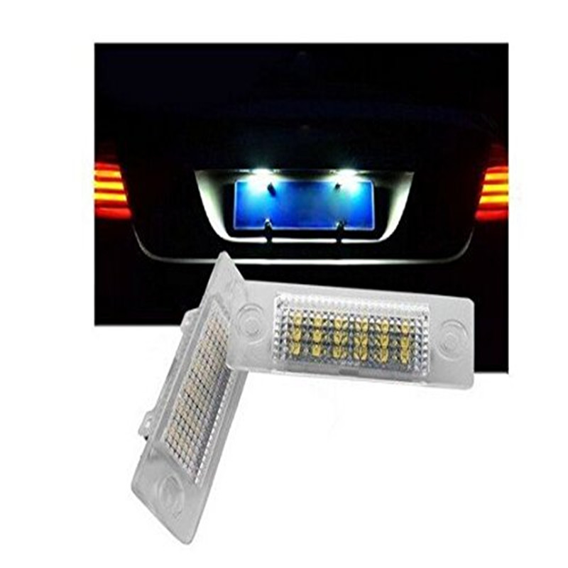 New Led License Number Plate Lights For VW T5 Passat 3C B6 Caddy Touran Jetta Golf Plus No Error brand new 2x license number plate light lamp 18 led for vw caddy transporter passat golf touran jetta for skoda no error