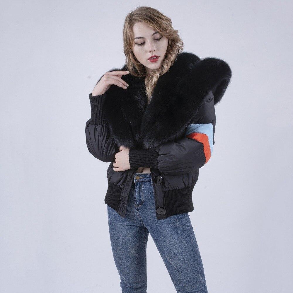 리얼 폭스 모피 모피 칼라와 겨울 다운 코트 높은 퀼트 여성 다운 재킷-에서베이식 쟈켓부터 여성 의류 의  그룹 3