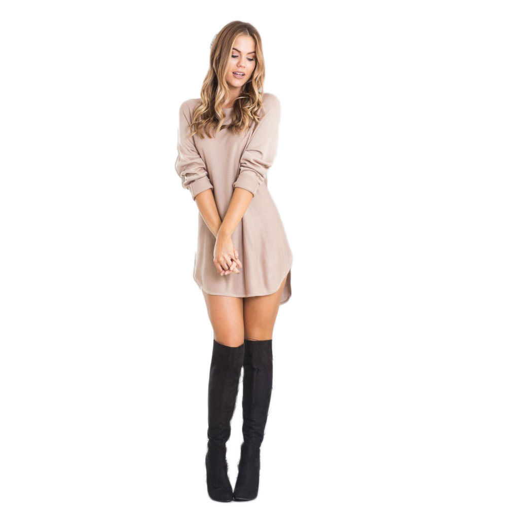 New Fashion Sexy Women Autumn Loose Casual Long Sleeve Solid Loose Mini Dress