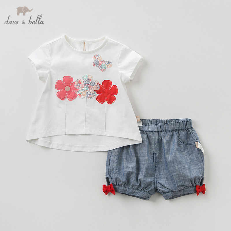 DBM11496 Dave bella summer baby girl clothing sets cute floral bow children suits infant high quality clothes girls outfit