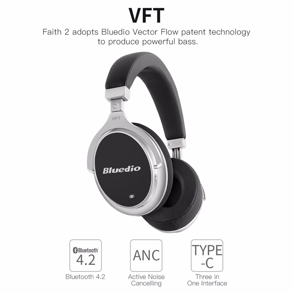 Bluedio F2 Bluetooth Headphones Wireless Noise Cancelling Over Ear Headset Original Earphones With Microphone For Mobile