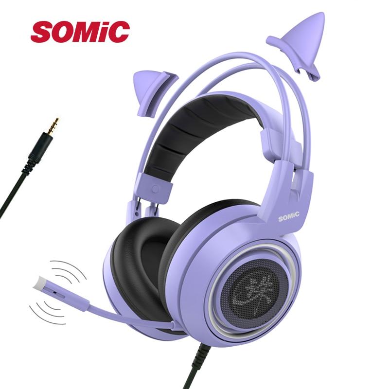 SOMIC G951 Purple Girl Cat Ear Gaming Headphone Chinese Characters Design 3 5mm Plug Cute Headset