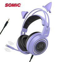 SOMIC G951 Purple Girl Cat Ear Gaming Headphone Chinese Characters Design 3.5mm Plug Cute Headset for PC Xbox one PS4 Phone Pad