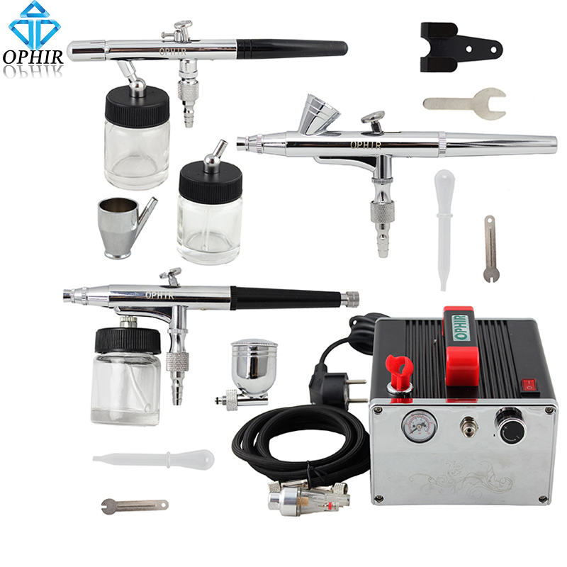 OPHIR Pro 3-Airbrush Set 0.2mm 0.3mm 0.35mm Dual-Action Kit with Air Compressor for Hobby Body Paint Nail Art _AC091+005+072+073 ophir 0 3mm 0 35mm 0 8mm 3 airbrush gun with air compressor for model hobby body paint tattoo cake decoration ac089 004a 071 072