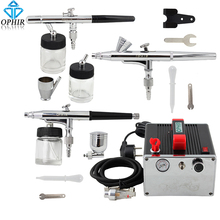 цена на 2014 OPHIR Pro 3-Airbrush Kits 0.2mm 0.3mm 0.35mm Dual-Action & Air Compressor for Temporary Tattoo Body Paint#AC091+005+072+073