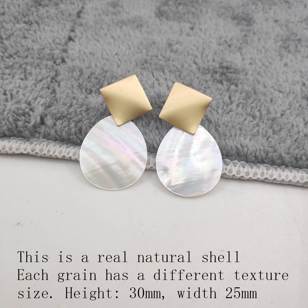 Fashion Wedding Jewelry Hanging Natural Shell Pearl Geometric Earrings High Quality Natural Shell Pendant Earrings for women P40 32
