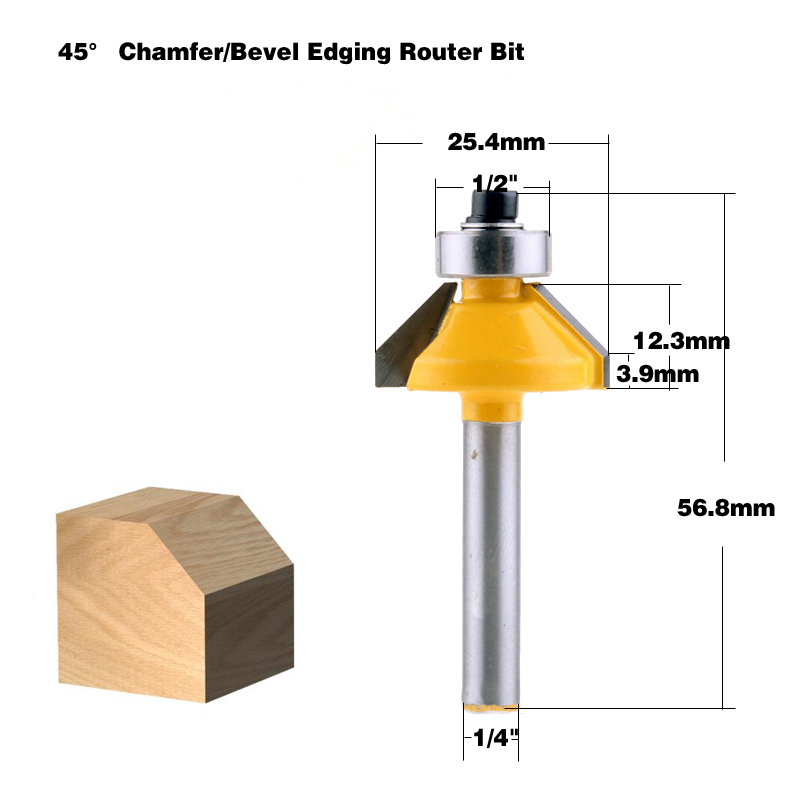 "1//4/"" Shank 45 Degree Chamfer Edge Forming Router Bit Carpentry DIY Tool"