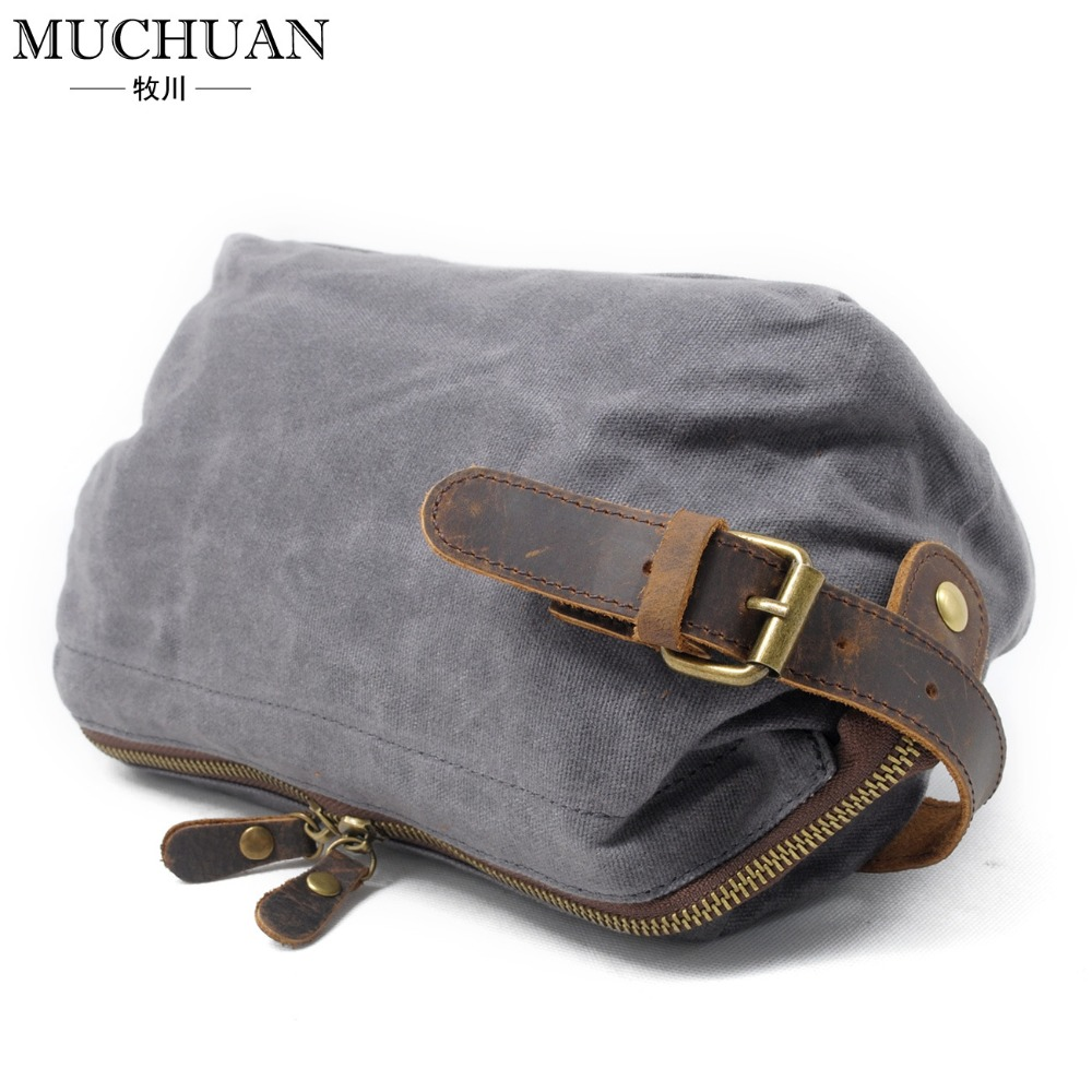 33a312655a1d New men hand caught oil wax canvas toiletry bags leather hand restoring  ancient ways in baotou layer leather wrist package 9138-in Wallets from  Luggage ...