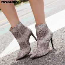 TINGHON Plus size 35-42 Sexy Pointed Toe Snake pattern Boots High Heel Women Thin Ankle For