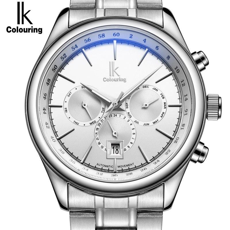 IK Automatic Mechanical Brand Man Watch Mens 24 Hours Calendar Luminous Silver Full Steel Watches Fashion Simple Casual relojes стоимость