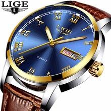 LIGE العلامة التجارية الفاخرة الرجال الساعات موضة ساعة رياضية رجال الأعمال عادية مقاوم للماء ساعات الفولاذ Relogio Masculino