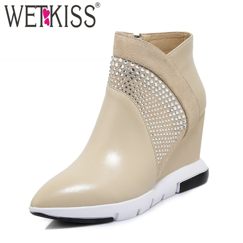 WETKISS High Heels Ankle Women Boots Pointed Toe Wedges Footwear Platform Female Boot Casual Cow Leather Shoes Women 2018 NewWETKISS High Heels Ankle Women Boots Pointed Toe Wedges Footwear Platform Female Boot Casual Cow Leather Shoes Women 2018 New