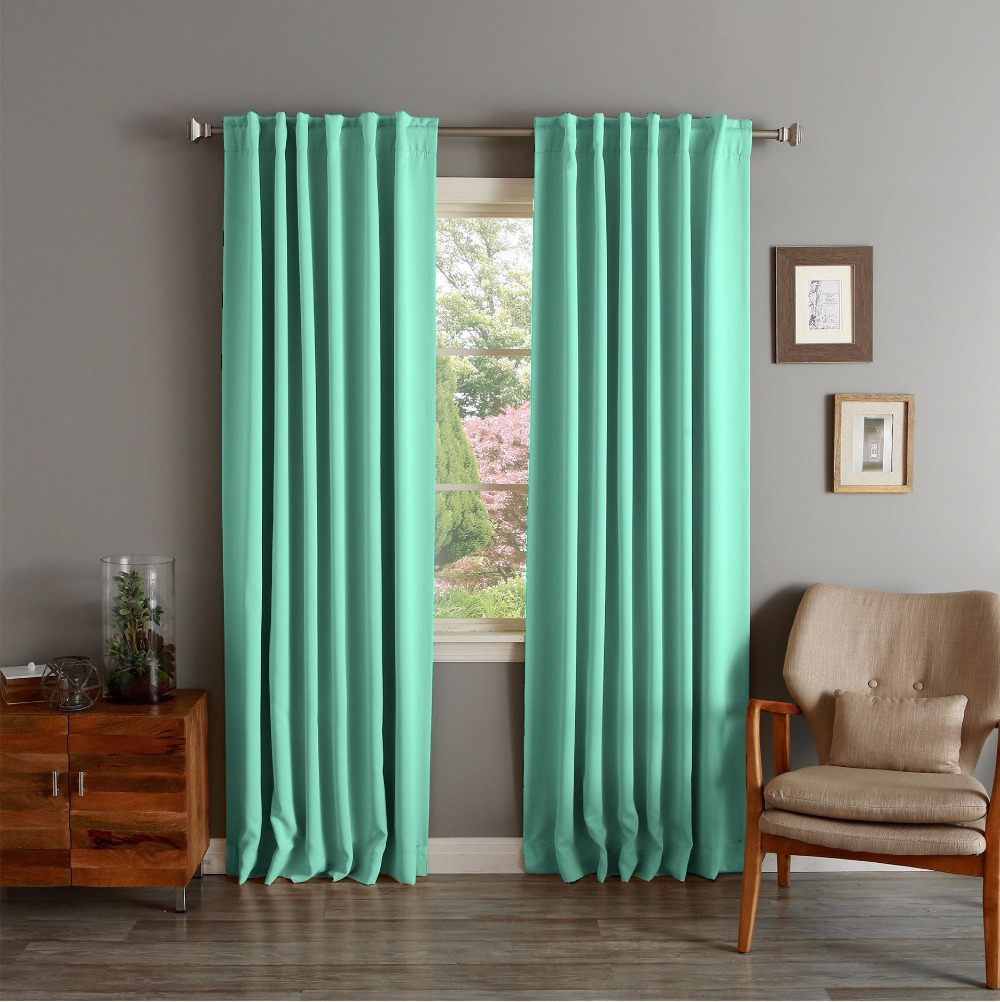 Teal curtains living room - One Panel Curten Modern Blackout Solid Thermal Insulated Teal Curtain For Living Room Fashion Flat Window Wave Drapes In Curtains From Home Garden On