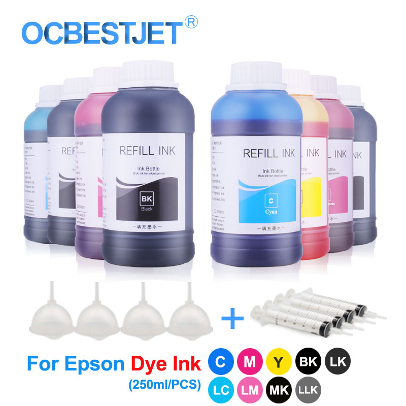 250ml/Bottle Universal Dye Ink Bottle For Epson L210 L800 L805 L1300 L4150 CX3900 TX109 TX117 Printer Ink Dye Ink For Epson