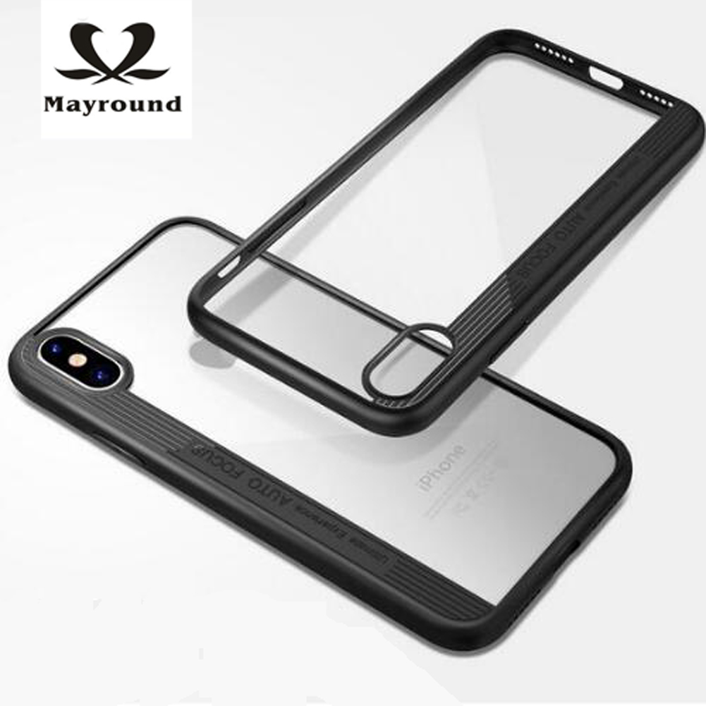MAYROUND Transparent Phone Shell For Apple iPhone X 10 ten Case Vertical lines Fashion Cool Rubber Flexible Supper Thin Cover