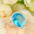 Lo nuevo de Cristal Ovalada Azul Cielo Fuego Creado Topacio Plateado Joyería de La Boda Anillos Anillos de Rusia Australia Anillos