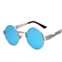 Luxury Metal Sunglasses Men Women Round Sunglass Steampunk Coating Glasses Vintage Retro Lentes Oculos of Male Sun