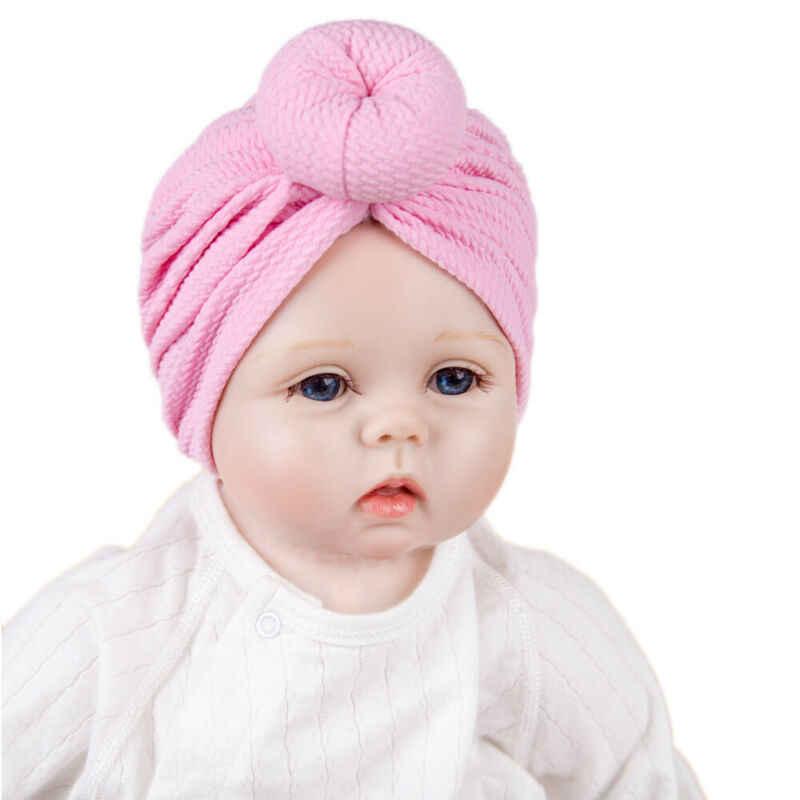 2019 accesorios para bebés recién nacidos niños bebé niño niña Nudo sólido sombreros turbante algodón gorro Color caramelo sombrero invierno cálido tapa