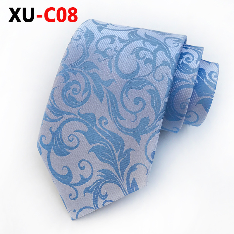 2018 New Silk Jacquard 8cm Tie Blue Barocco Scroll Silver  Necktie  Official Mans Accessories
