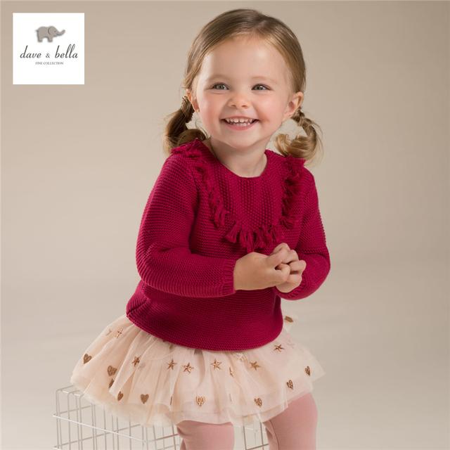 DB3706 dave bella otoño niña suéter borla niños chicas fashion pink textile bebé suéter superior