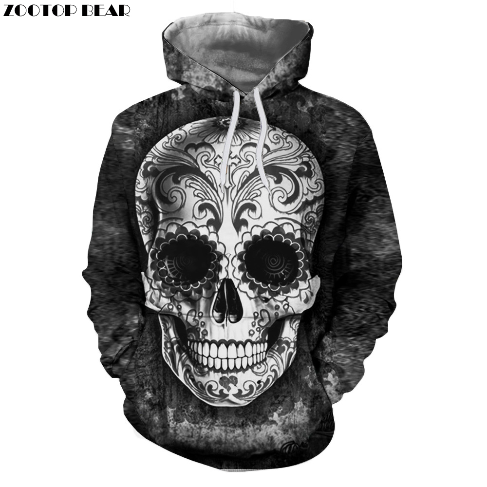 Sugar Skull Hoodies 3D Men Sweatshirts Drop Ship Printed Hoodie Brand Tracksuits Unisex Pullover 6XL Casual Fashion Male Jackets