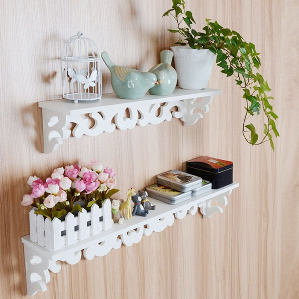 White Wall Mounted L Hanging Shelf Rack Goods Display Convenient Hooks Storage Holder Home Bedroom Decoration Ledge S M Sizes