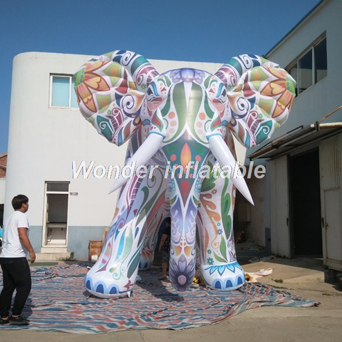Most popular customized large colorful inflatable elephant model for advertising