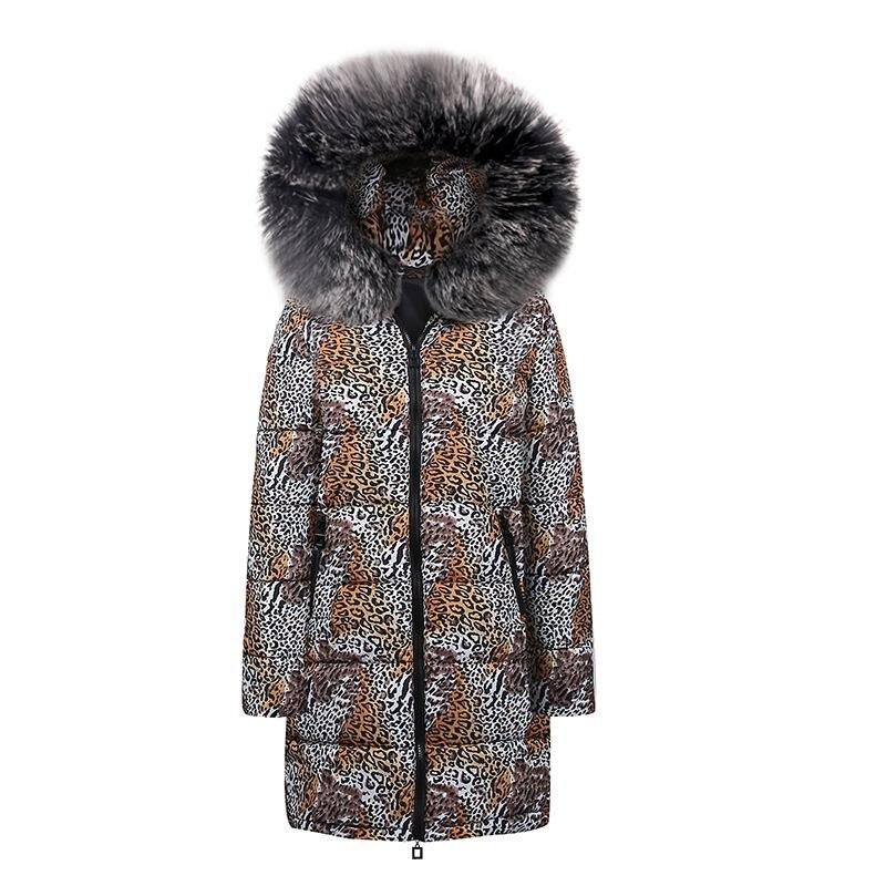 Casual Plus Size Hip Hop Blue Winter Coats Fur Warm Women Parkas Long Overcoats Slim Print 2019 Leopard Female Chic Outwears