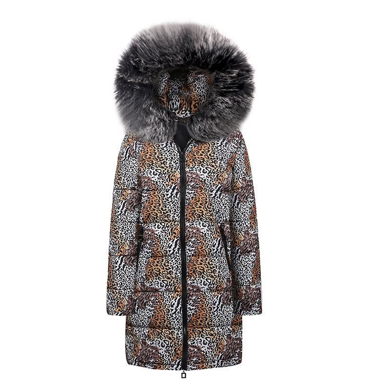 Casual Plus Size Hip Hop Blue Winter Coats Fur Warm Women   Parkas   Long Overcoats Slim Print 2019 Leopard Female Chic Outwears