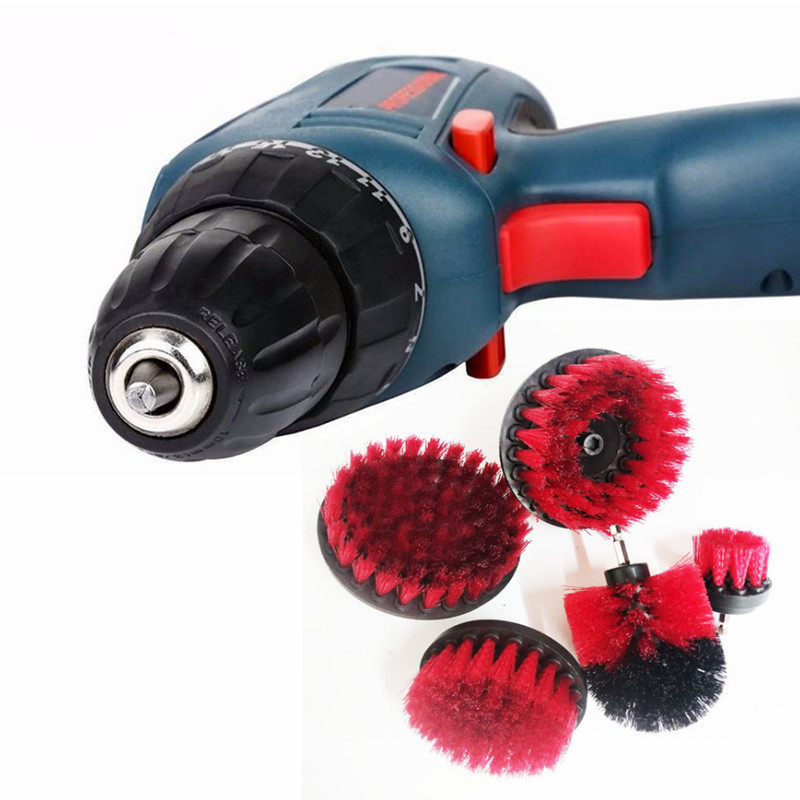 Brush 2019 New Style 5pcs/set Red Electric Drill Brush Plastic Round Cleaning Brush For Carpet Glass Car Tires Nylon Brushes Power Scrubber Drill Tools