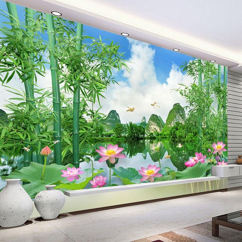Custom Foto Tapete 3D Bambus Wald Natur Landschaft Wohnzimmer TV  Hintergrund Wandbild Wand Decals Zitate Tapete Druck