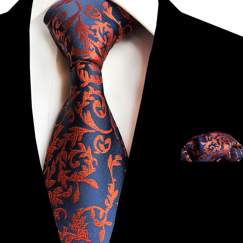 Ricnais New Floral Mens Tie Handkerchief Set Jacquard Woven Silk Neck Tie 8cm Striped Paisley Tie For Men Suit Business Wedding