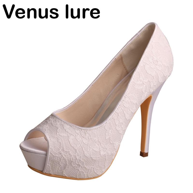 Wedopus blanc dentelle talons pour femmes bout ouvert ivoire haut talon plate-forme pompes pour mariage
