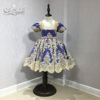 QSYYE 2018 ילדה פרח שמלות רויאל בלו עם תחרה זהב אמיתי קריסטל אבנט חמוד בנות לנשף תחרות בנות Custom Made