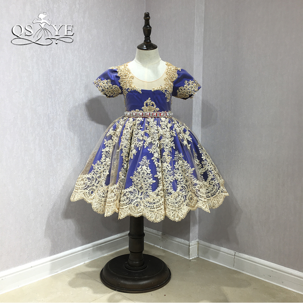 QSYYE 2018 Real   Flower     Girl     Dresses   Royal Blue with Gold Lace Crystal Sash Cute   Girls   Prom Pageant   Dress   Custom Made