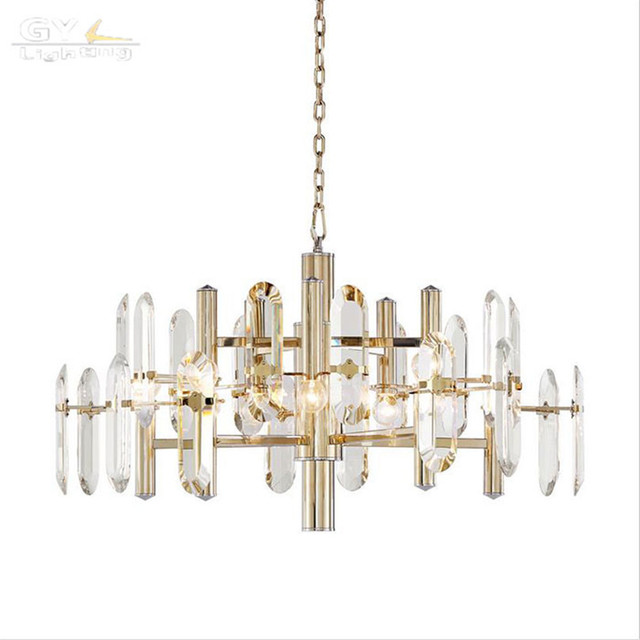 High Quality Modern Living Room Re Chandeliers Luxury Villa Art Crystal Chandelier Scandinavian Designer Champagne Gold