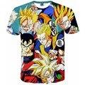 Camiseta 3D Engraçado Anime Dragon Ball Z Goku Super Saiyan t camisas Dos Homens/mulheres Harajuku tee camisas Casuais camisetas topos