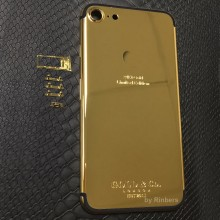 For iPhone 7 Plus 5.5″ 24K 24KT 24CT Gold Limited Edition Back Cover Housing Middle Frame Bezel Replacement + LOGO, FREE DHL
