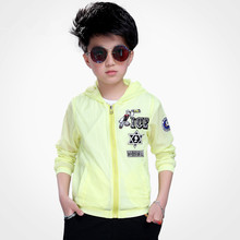2017 Summer Kids Boys Casual Breathable Jackets&Cardigan Boys Yellow&White Sporty Hooded Waterproof Anti-UV Sunscreen Outerwears