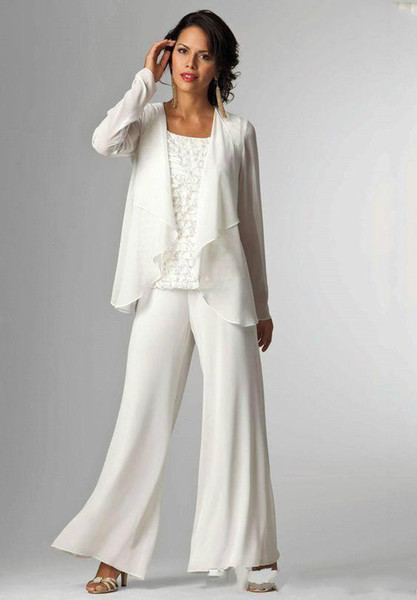 2018 Chiffon Mother of the Bride Outfits Crystals Sheath Evening Party Pant Suit