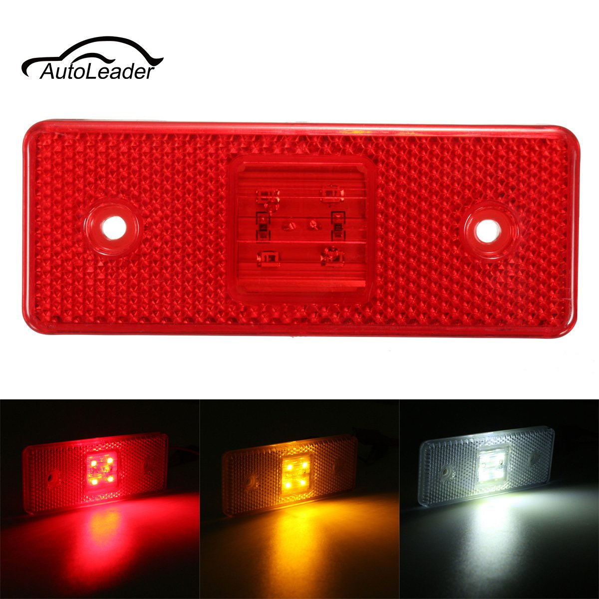1pc 24V 4 LED Truck Trailer Lorry Side Marker Waterproof Light Signal Warning Lamp Amber White Red