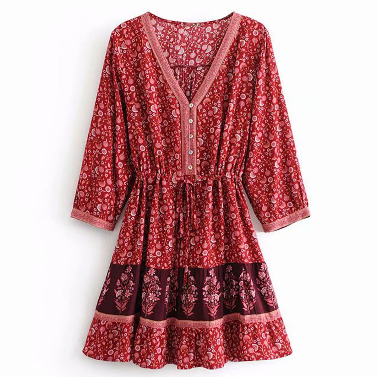 Jastie <font><b>Crimson</b></font> Print Mini <font><b>Dress</b></font> Button-down V-neck Women <font><b>Dresses</b></font> A-line Hem 3/4 Sleeve Spring Autumn <font><b>Dress</b></font> Boho Beach <font><b>Dresses</b></font>