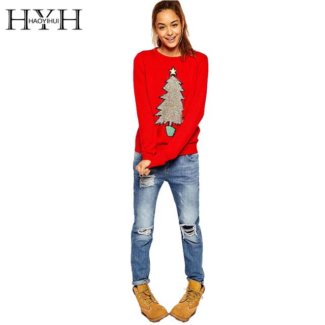 Hyh haoyihui 2017 novas mulheres da moda outono árvore de natal imprimir preppy estilo completo manga tops o pescoço camisola de malha vermelho