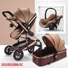 Многофункциональный 3 в 1 Детские коляски Высокая Пейзаж коляска складной перевозки золото Детские коляски новорожденных Коляски